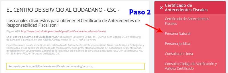 Descargar Certificado de antecedentes fiscales Contraloría Paso 2