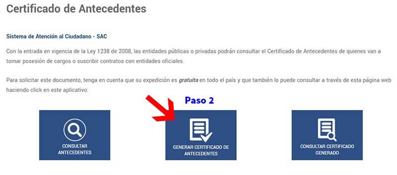 Descargar certificado de antecedentes disciplinarios Procuraduría Paso 2