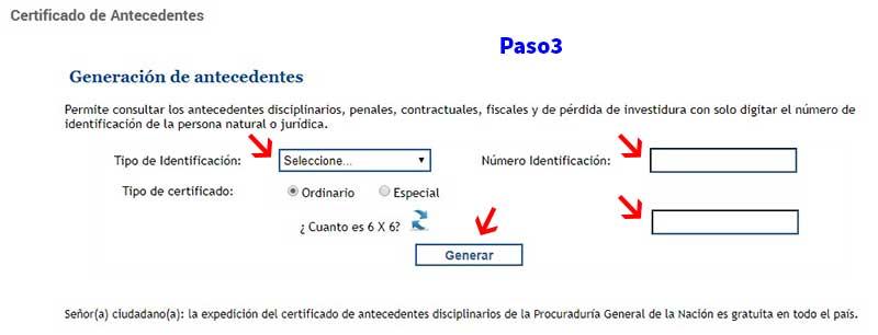Descargar certificado de antecedentes disciplinarios Procuraduría Paso 3