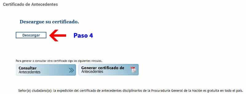 Descargar certificado de antecedentes disciplinarios Procuraduría Paso 4