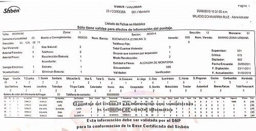 Ficha técnica del Sisbén