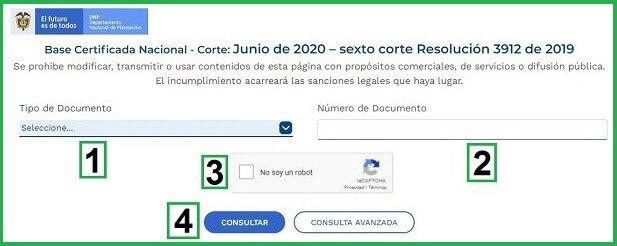 Consultar el Puntaje Sísben online