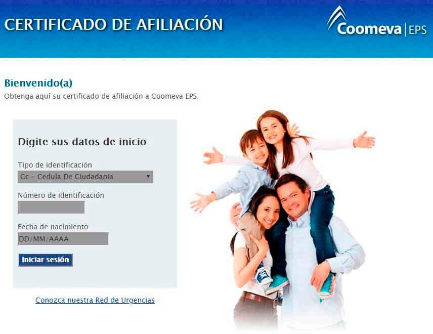 Certificado de afiliaci贸n de Coomeva eps